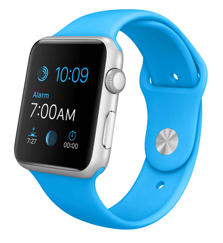 Apple Watch Sport con caja de 42 mm en aluminio color plata y correa deportiva de fluoroelastómero en color azul