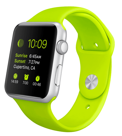 Apple Watch Sport con caja de 42 mm en aluminio color plata y correa deportiva de fluoroelastómero en color verde