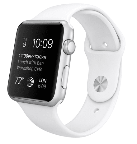 Apple Watch Sport con caja de 42mm en aluminio color plata y correa deportiva de fluoroelastómero en color blanco