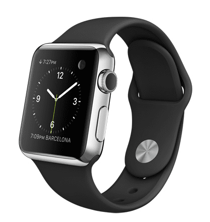 Apple Watch con caja de 38 mm en acero inoxidable y correa deportiva de fluoroelastómero en color negro