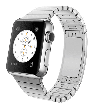 Apple Watch con caja de 38 mm en acero inoxidable y pulsera de eslabones