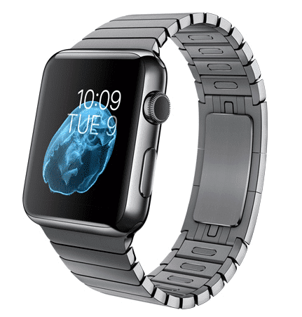Apple Watch con caja de 42 mm en acero inoxidable negro espacial y pulsera de eslabones