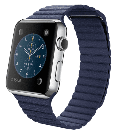 Apple Watch con caja de 42 mm en acero inoxidable y correa Loop de piel en color azul eléctrico