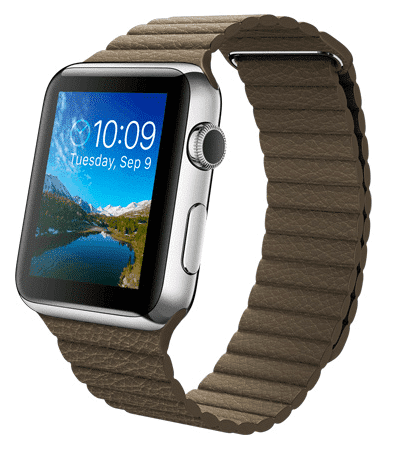 Apple Watch con caja de 42 mm en acero inoxidable y correa Loop de piel en color marrón claro