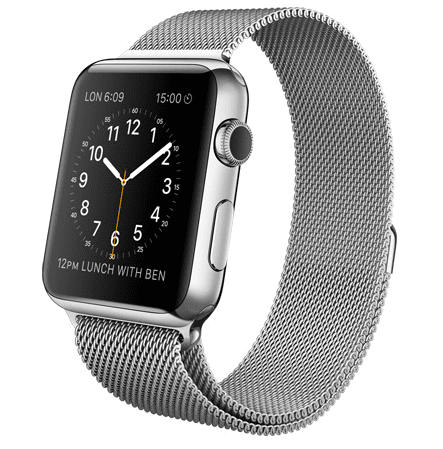Apple Watch con caja de 42 mm en acero inoxidable y correa Milanese Loop