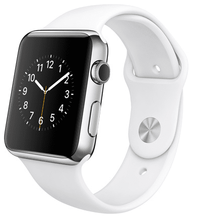 Apple Watch con caja de 42 mm en acero inoxidable y correa deportiva de fluoroelastómero en color blanco