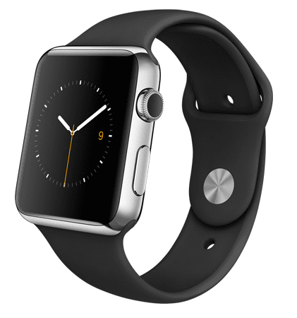 Apple Watch con caja de 42 mm en acero inoxidable y correa deportiva de fluoroelastómero en color negro