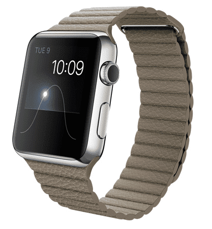Apple Watch con caja de 42 mm en acero inoxidable y correa loop de piel en color piedra