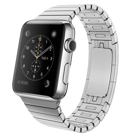 Apple Watch con caja de 42 mm en acero inoxidable y pulsera de eslabones