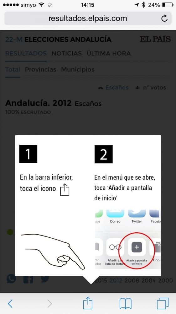 Como seguir elecciones Andalucía iPhone iPad