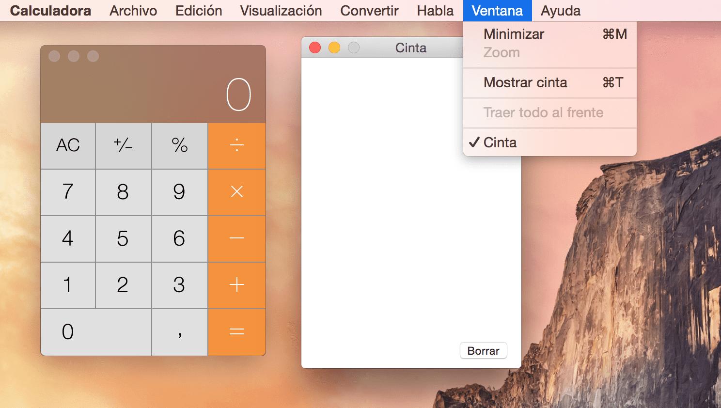 Toma notas en la cinta de la calculadora de OS X