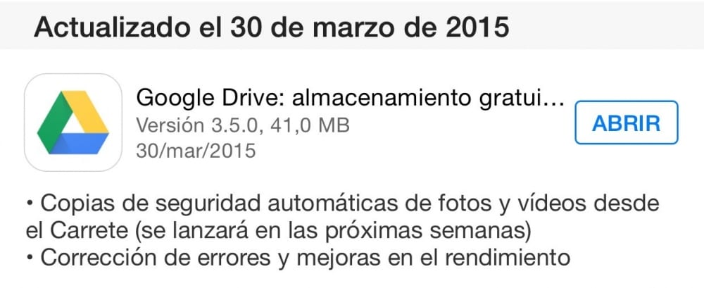 Google Drive iOS subida automatica carrete fotos