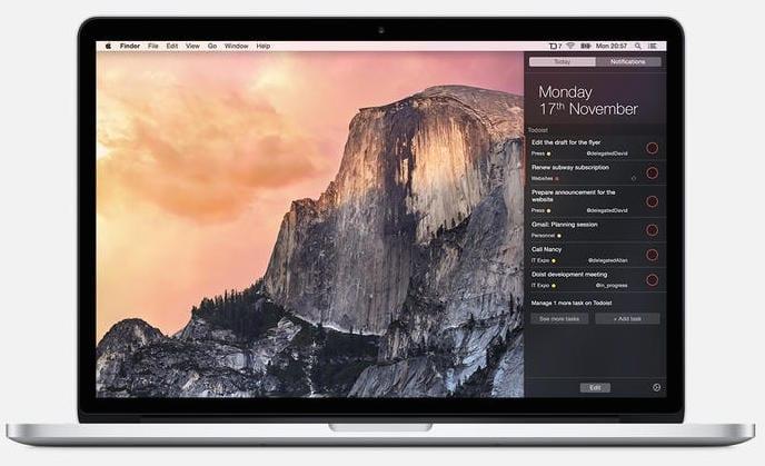 Todoist widget OS X Yosemite
