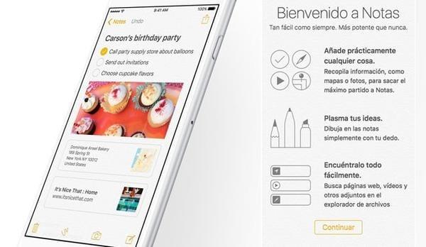 Asi es la renovada app Notas de iOS 9