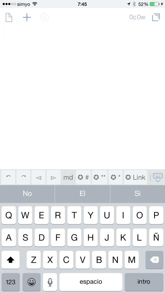 Drafts, abrir y escribir