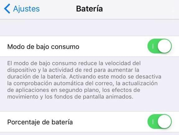Modo Bajo Consumo Ahorro Bateria iOS 9
