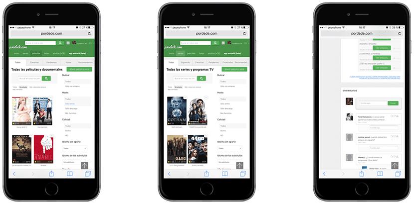 Bajar películas gratis de pordede con Safari
