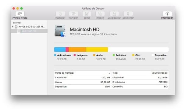 Utilidad de Discos en OS X El Capitan