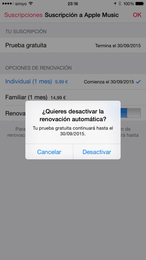 Cómo anular la renovación automática a Apple Music 5