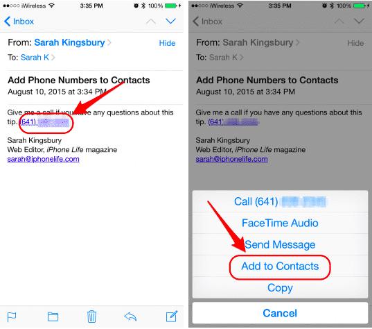 Agregar teléfono a contactos desde mail