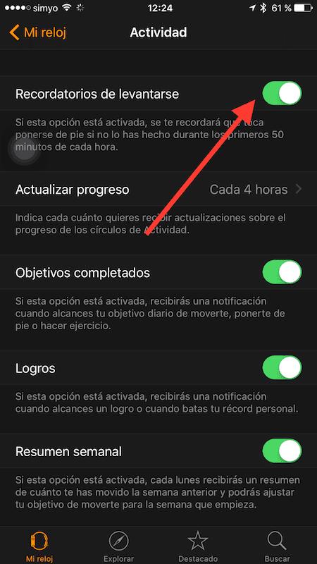Cómo desactivar el aviso levantarse de tu Apple Watch 3
