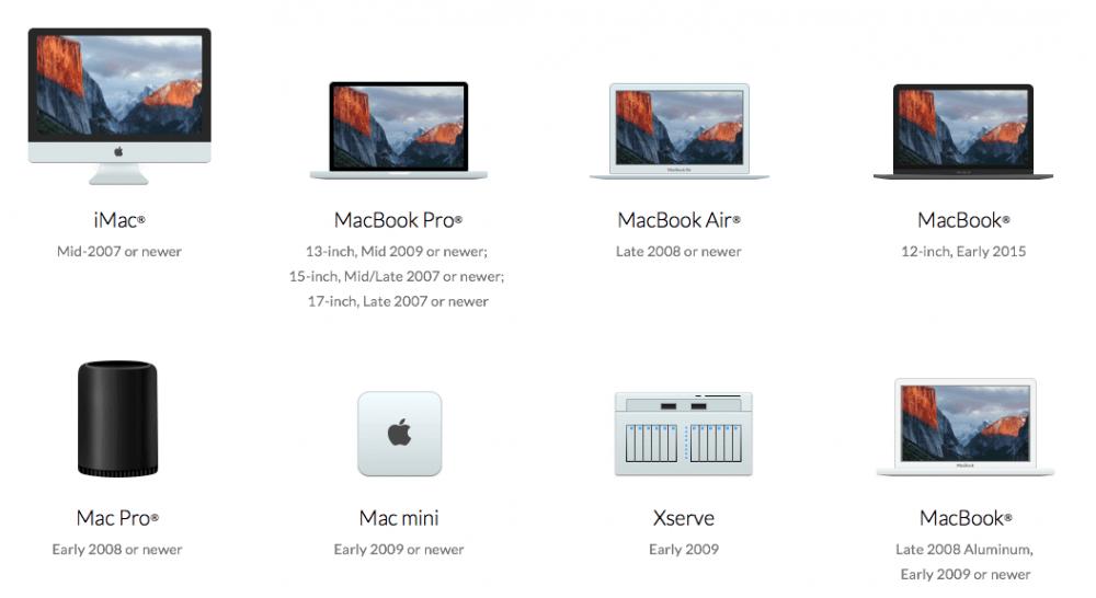 Mac compatibles con OS X El Capitán