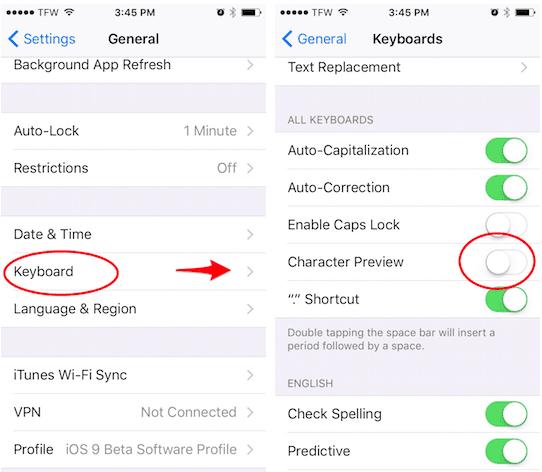 Cómo desactivar la vista previa de caracteres en el teclado de tu iPhone