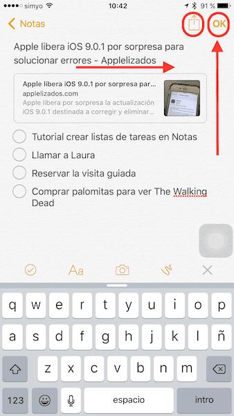 Crear listas de tareas en Notas iOS 9