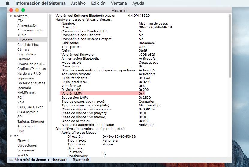 Versión LMP MAC Bluetooth