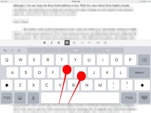 seleccionar texto ipad trackpad