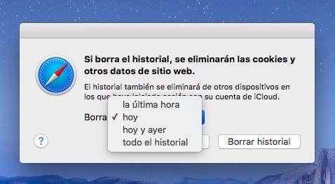 Borrar historial en Safari para Mac