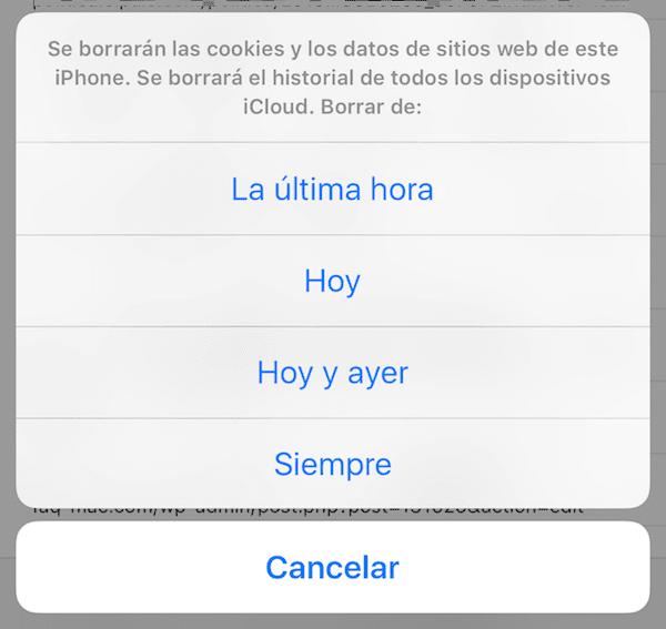 Borrar historial en Safari para iOS