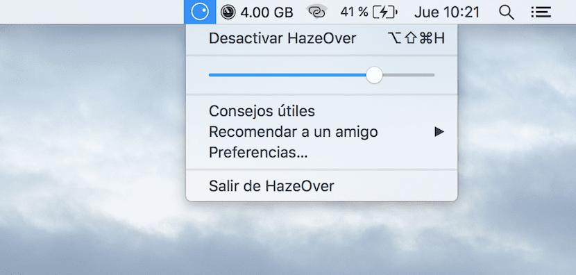 HazeOver-menú