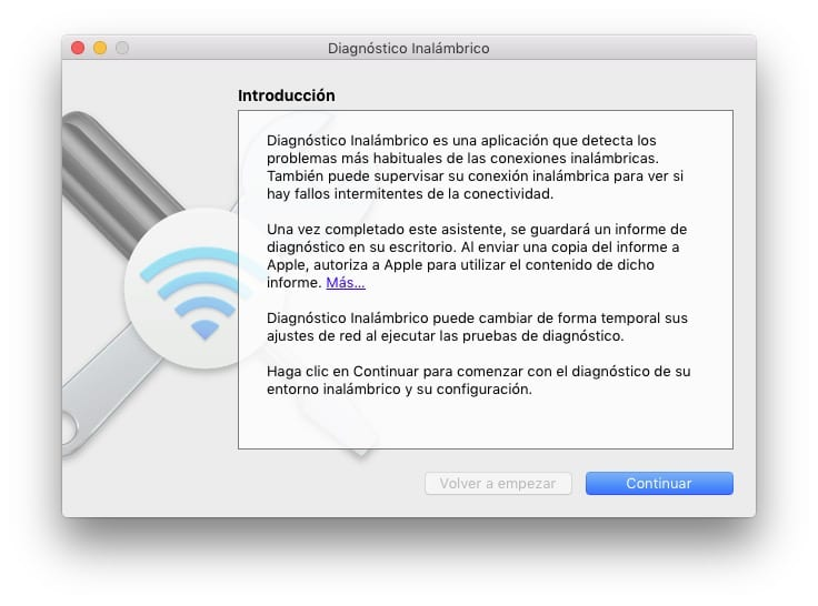 Herramienta de diagnóstico WiFi en Mac
