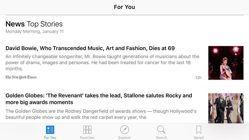 news horizontal iOS 9.3