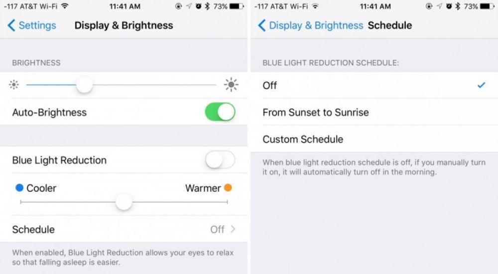 night shift modo noche nocturno iOS 9.3