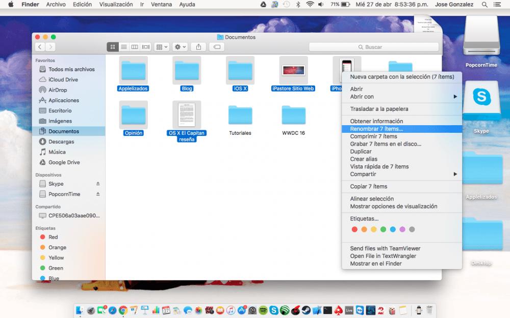 OS X El Capitan Renombrar archivos