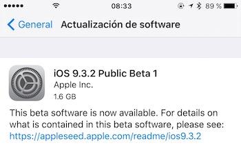 iOS 9.3.2 beta publica 1