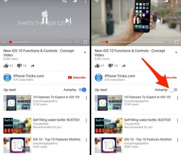 YouTube Reproducción Automática iPhone