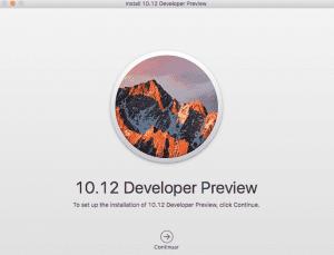 Interfaz de instalación de macOS Sierra
