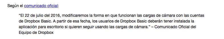 Comunicado de Dropbox por el cual deja de dar servicio a la carga de fotos