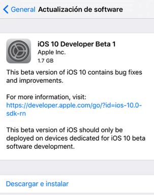 iOS 10 beta 1