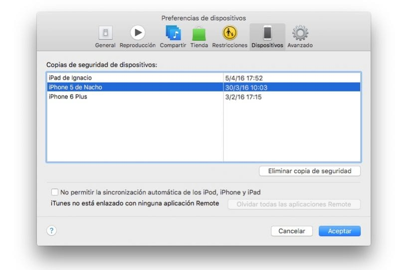 Liberar espacio en Mac borrando copias de iTunes