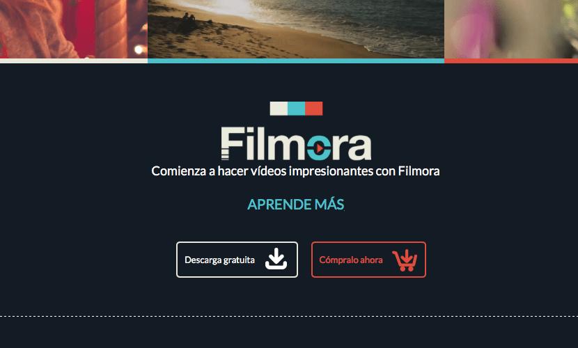 Presentación del Software Filmora en su página web