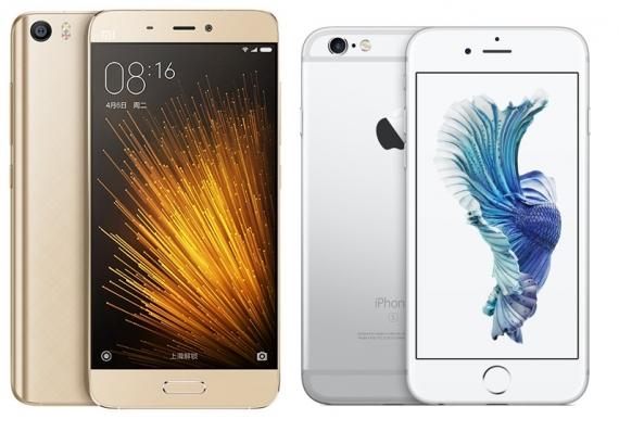 A la izquierda, el Xiaomi Mi 5, smartphone premium cuyo precio casi alcanza la mitad de un iPhone 6s (a la derecha)