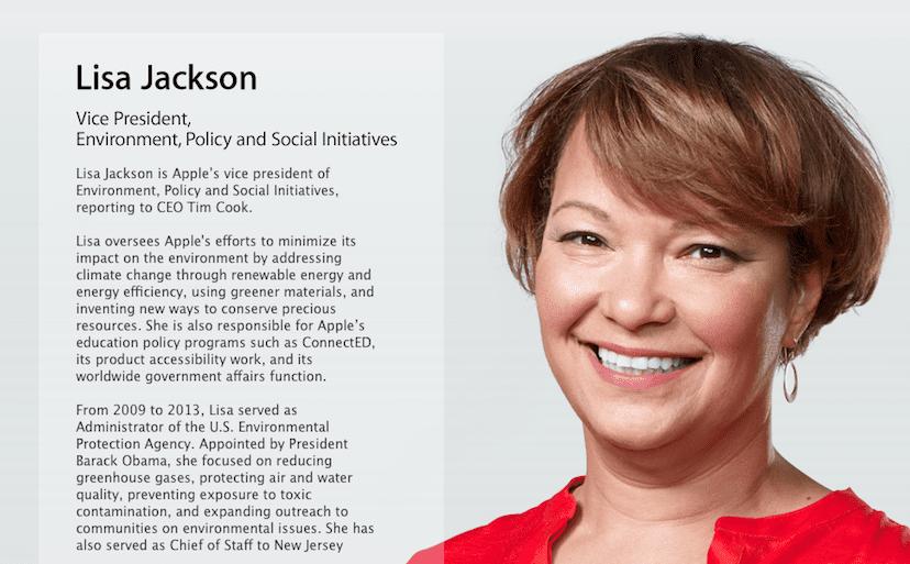 Lisa Jackson vicepresidenta de medio ambiente