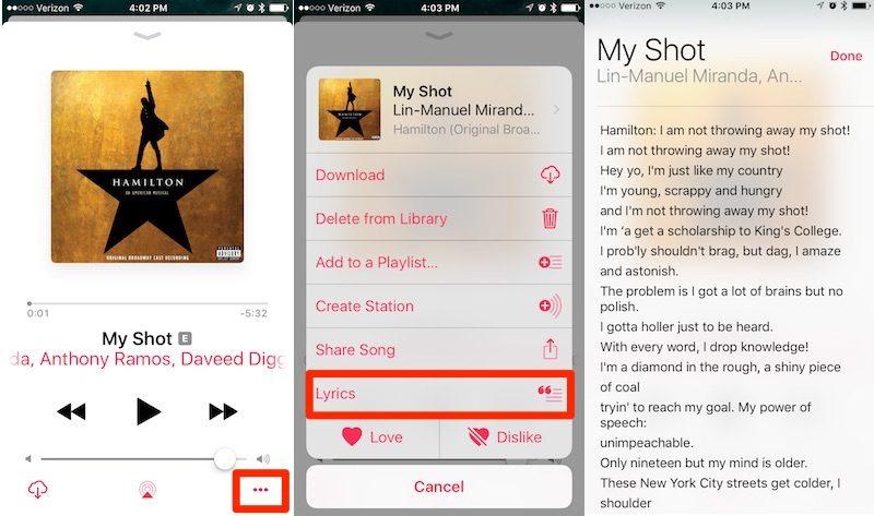 Cómo usar las letras de canciones en Apple Music con iOS 10