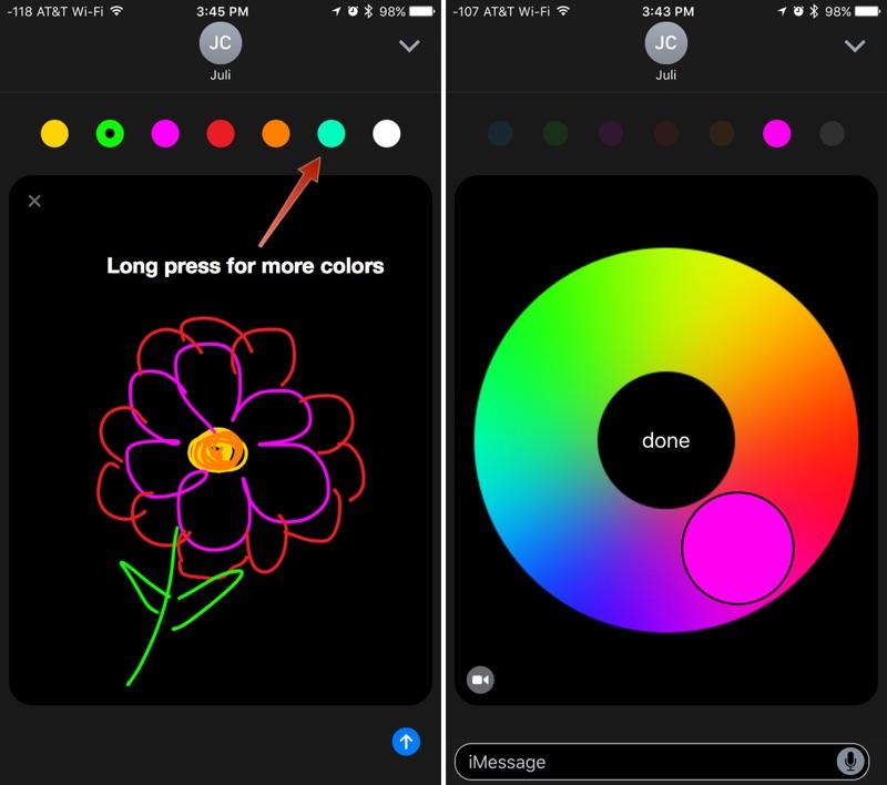 Dibujar en Mensajes de iOS 10 con Digital Touch