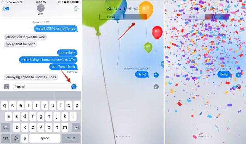 Cómo utilizar los nuevos efectos de Mensajes en iOS 10