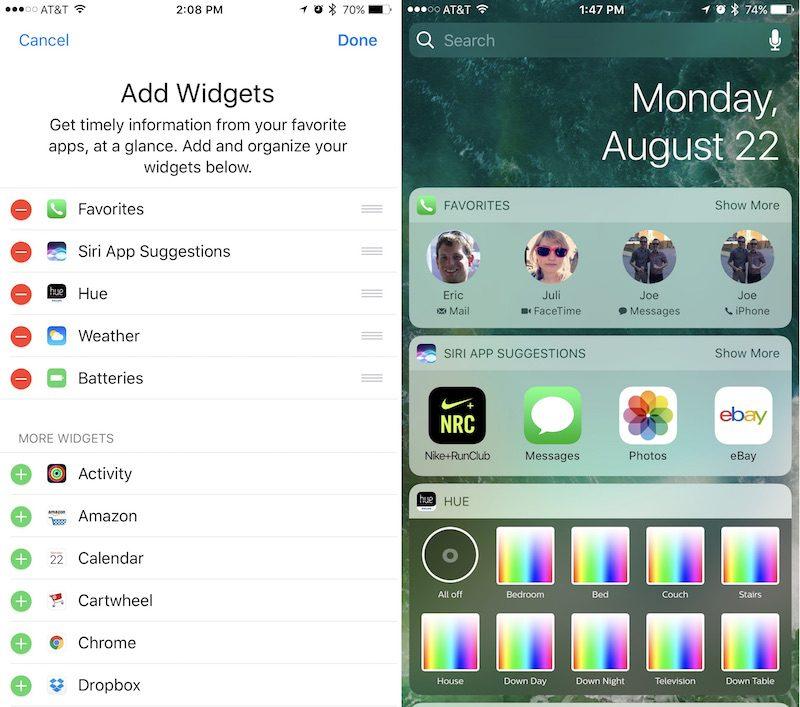 Personalizar el widget de contactos favoritos en iOS 10